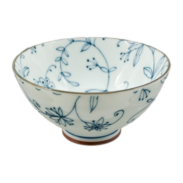 "Blue Lined Flower Bowl 4.5""D, Set of 2"