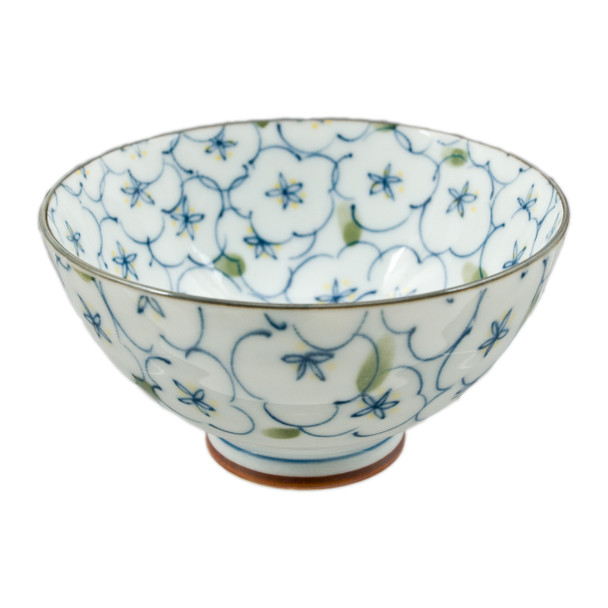 """Blue Lined Flower with Brush Stroke Bowl 4.5""""D, Set of 2"""
