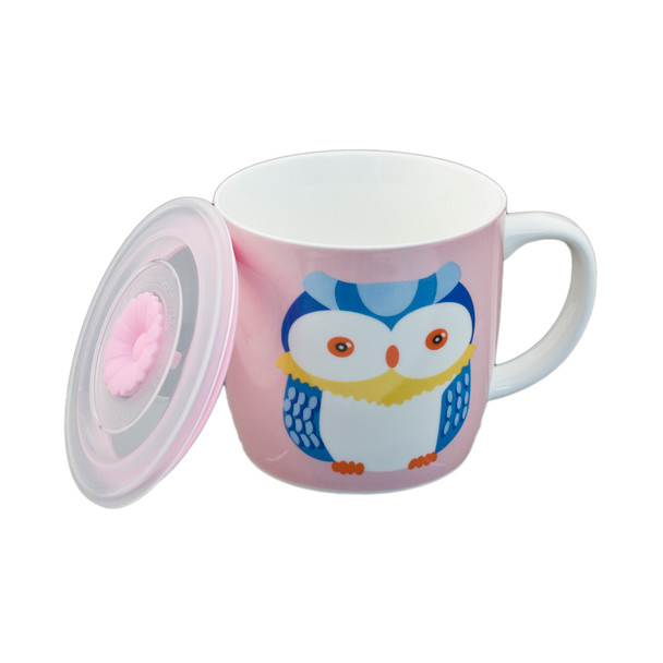 "Cute Pink Owl Mug with Lid 3.5""H"