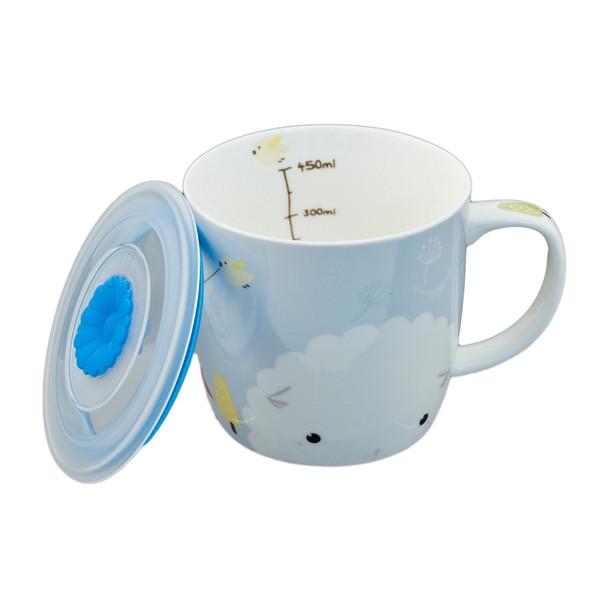"""Cute Sky Blue Sheep Mug with Lid 3.5""""H"""