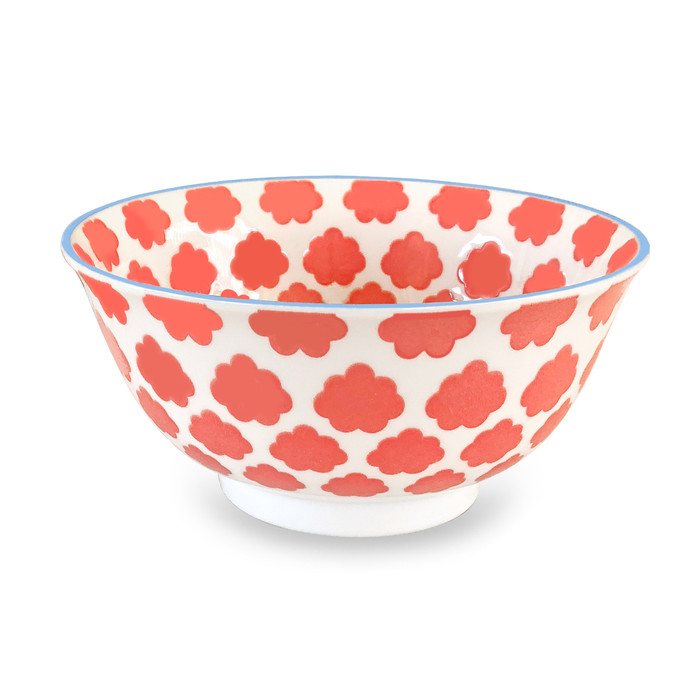 Cloud Pad Printed Bowl, Set of 2, Peach/Blue