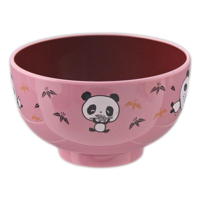 """Kids Panda Bowl 3.75""""D Lacquer, Pink"""