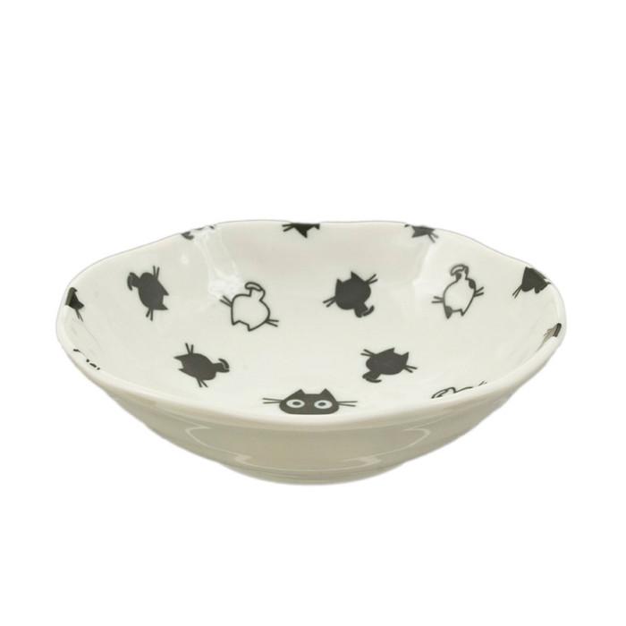 "Kids Black/White Kitty Bowl 5.25""D, Set of 2"
