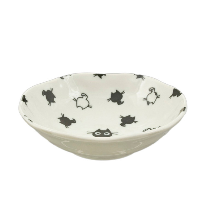 "Kids Black/White Kitty Bowl 6.5""D, Set of 2"
