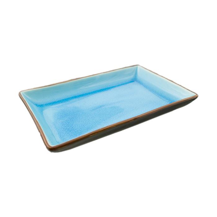 "Two Tone Reactive Glaze Blue Serving Plate 9.75"" x 6"""