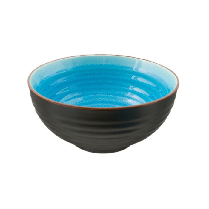 """Two Tone Reactive Glaze Blue Bowl 6.5""""D"""
