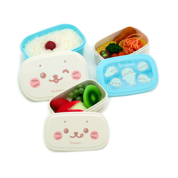 Sirotan Bento Lunch Box Seal Container 3pc Set, Blue