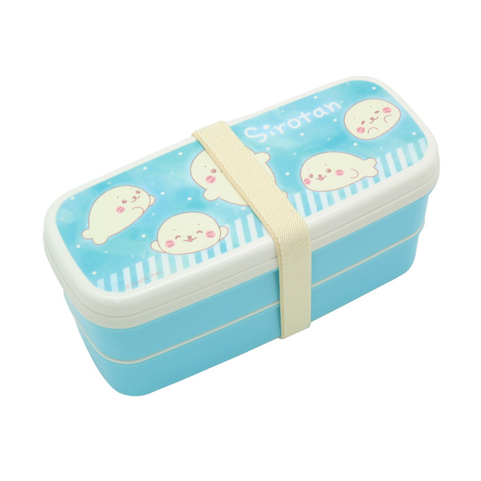 Sirotan Bento Lunch Box 2-Layer with Partition and Chopstick, Blue