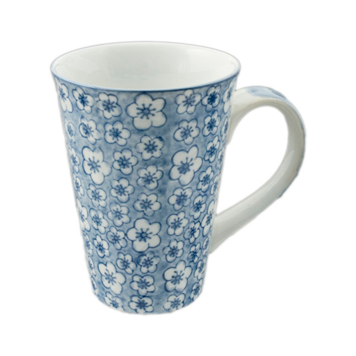 Flowering Porcelain Mug 16oz, Mono Blue