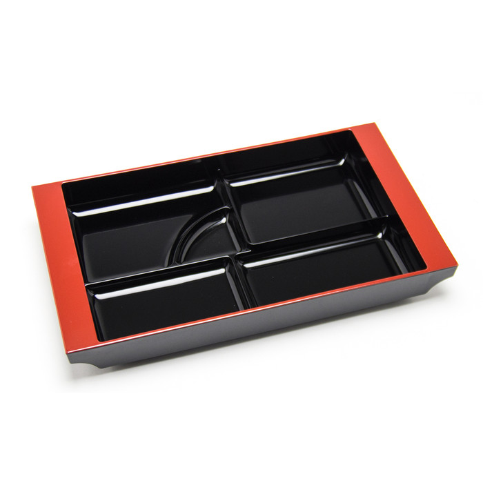 """Divided Lacquer Plate Tray 19""""x12"""" - Black"""