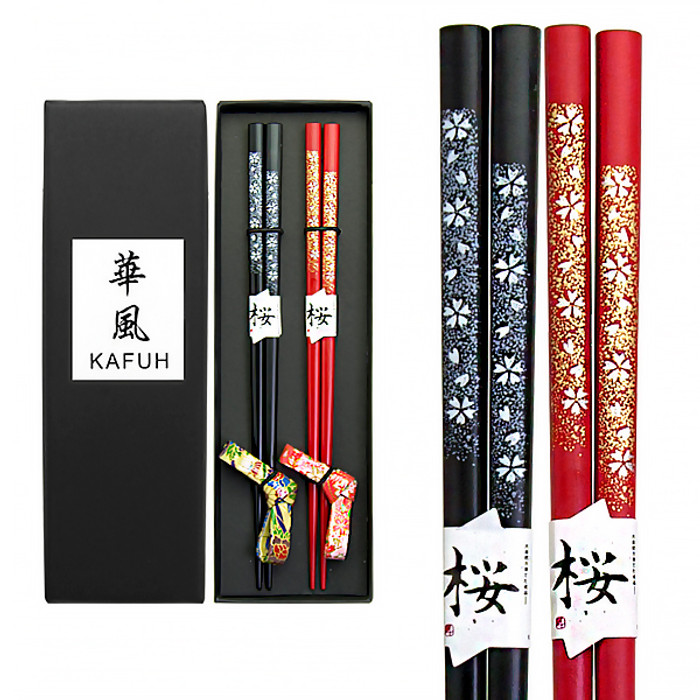 Foil Flowers Chopsticks with Rests 2pc Set