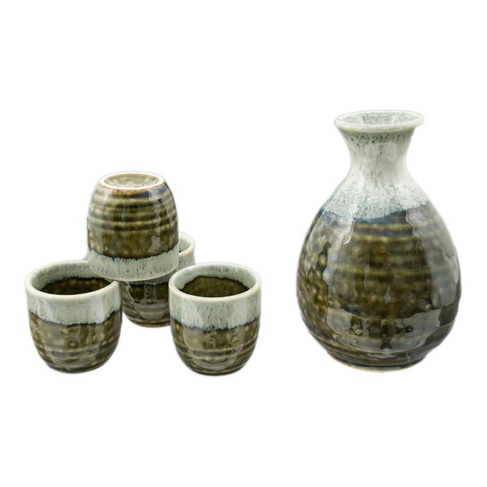 Green Stripe Stone Sake Set