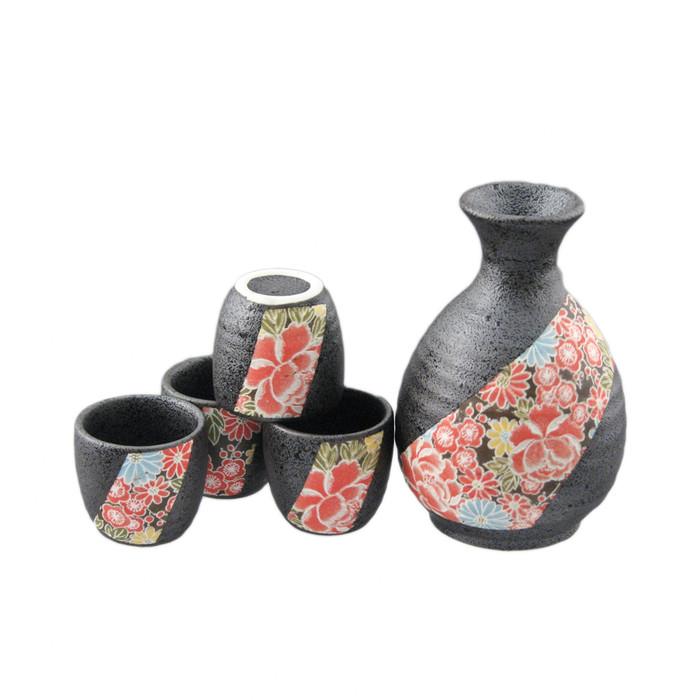 Shiki Yuzen Sashed Flower Sake Set