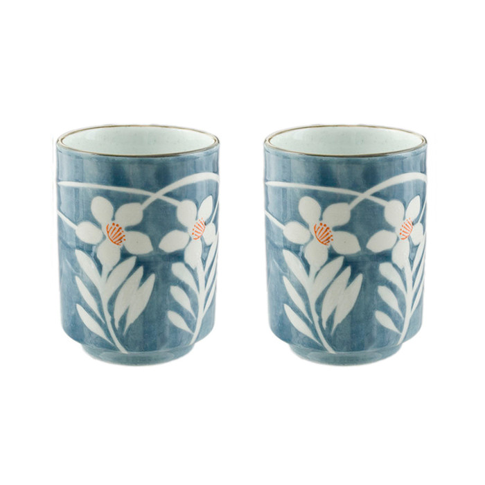 Japanese Teacup Blue & White Set of 2 - White Flower