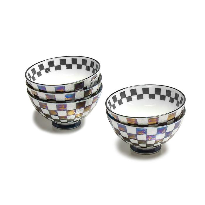 Pearlized Iridescent Checkered Bowl Set of 5 - Black/White