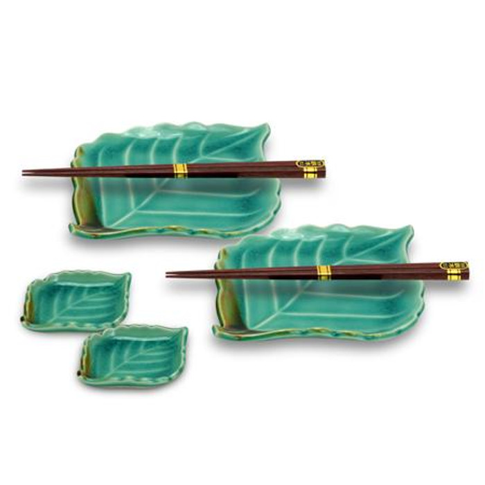 Green Leaf Plates & Chopsticks Set