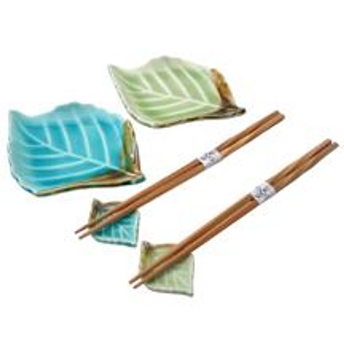 Crackle Leaf Plate Set