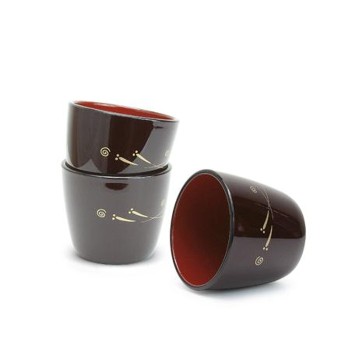 Red Lacquer Soba Sauce 3pc Cup Set