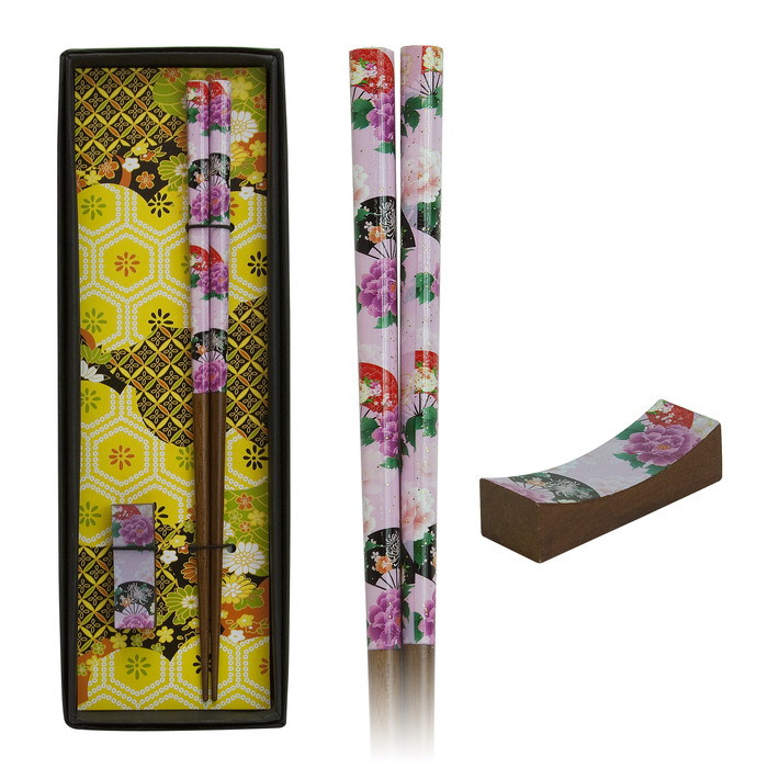 Japanese Botan & Fan Chopstick Set - Light Pink