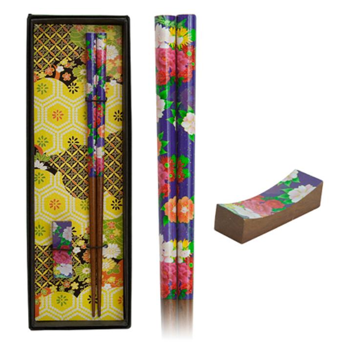Japanese Flower Chopstick Set - Navy