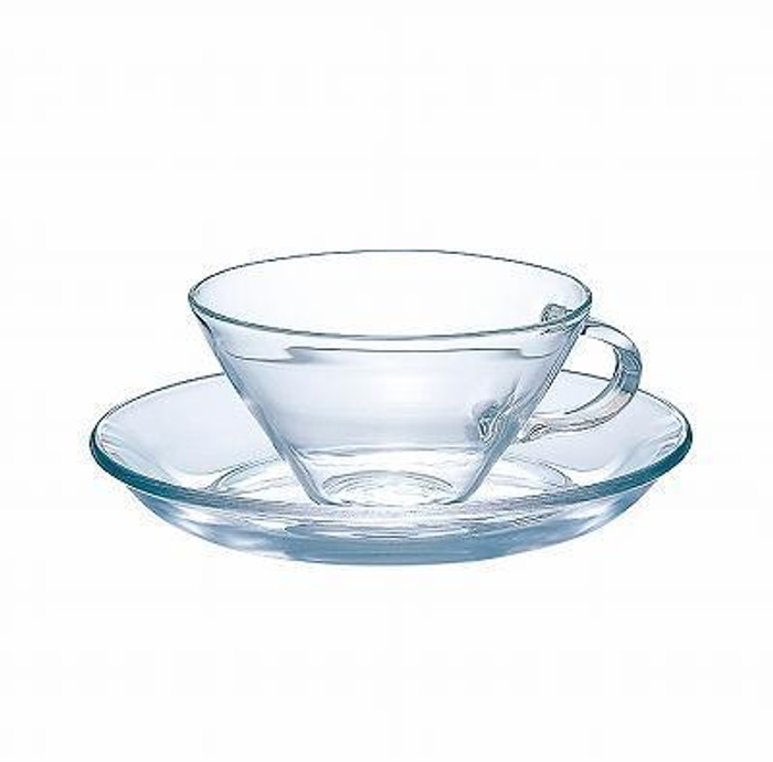 Hario Glass Wide Cup & Saucer
