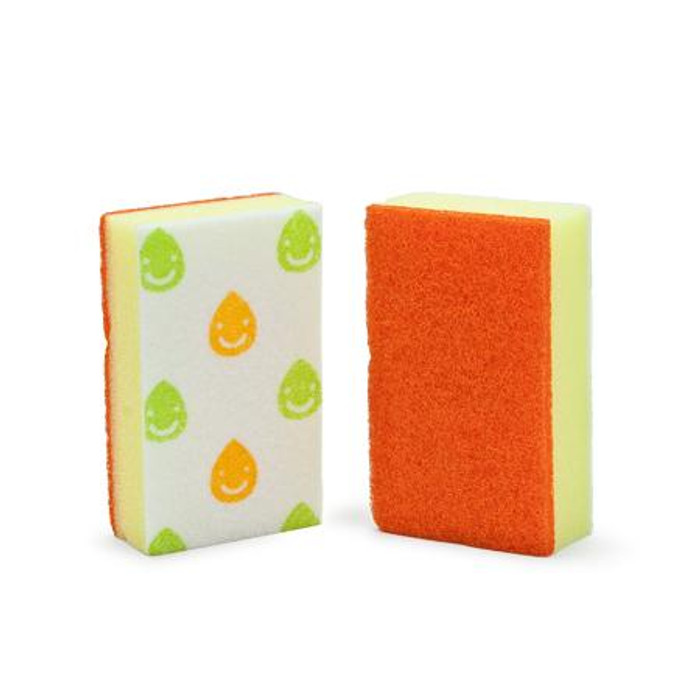 Happy Dish Sponge - Orange  (2pcs/pack)