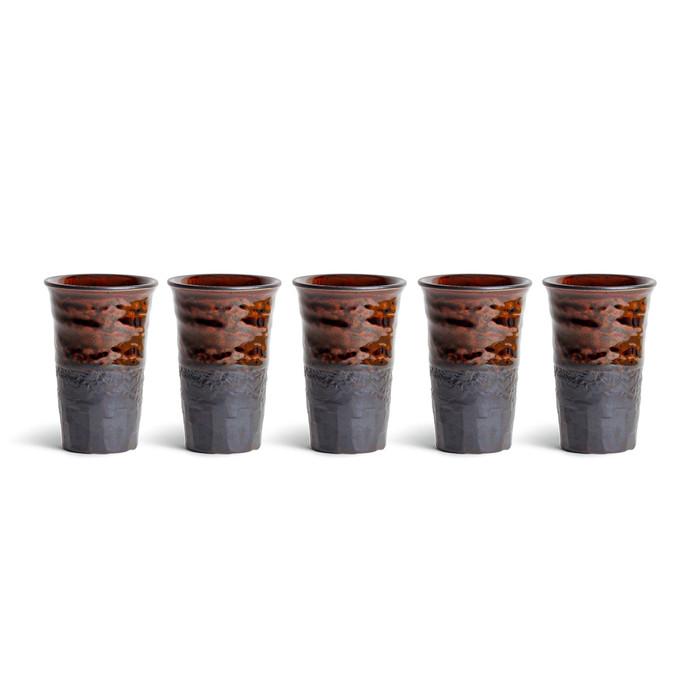 Chestnut Brown & Black Teacup Set - 5pcs