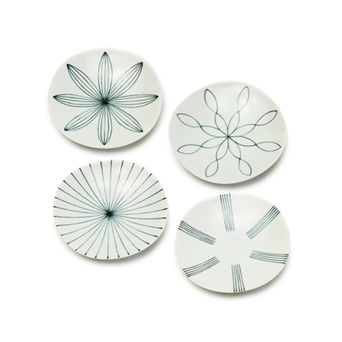 Whiteboard Assorted Design Small Plate Set - 4pcs