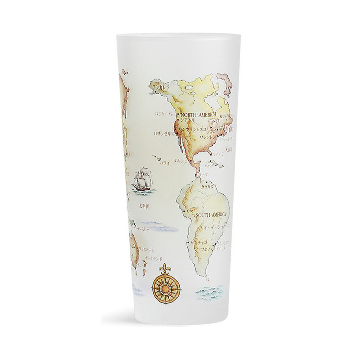 World Map Glass Cup