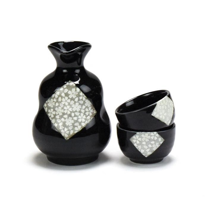 Kafuh Japan Belly Black Diamond Sakura Sake Set