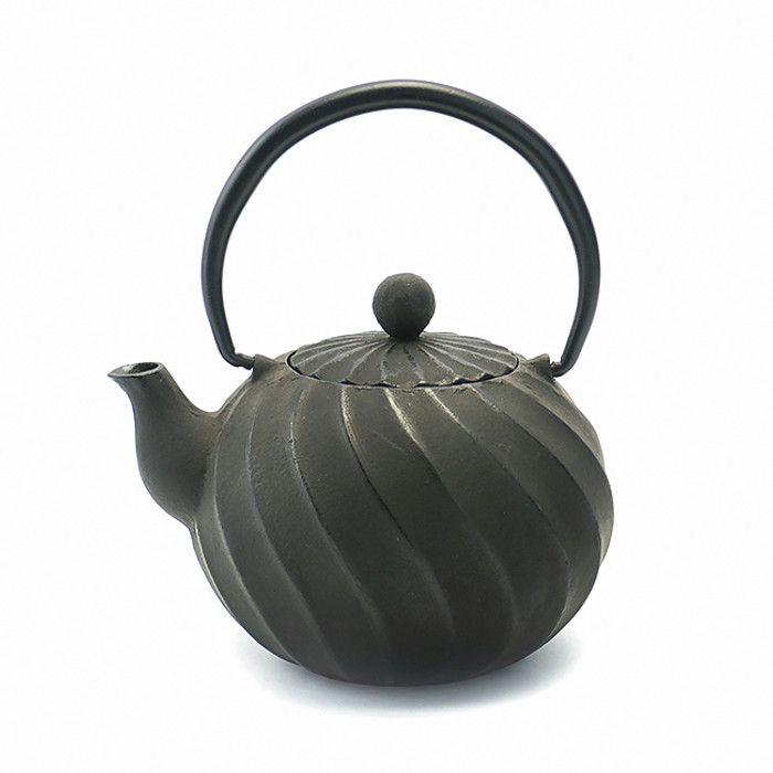 Rikyu Twist Cast Iron Teapot - Black