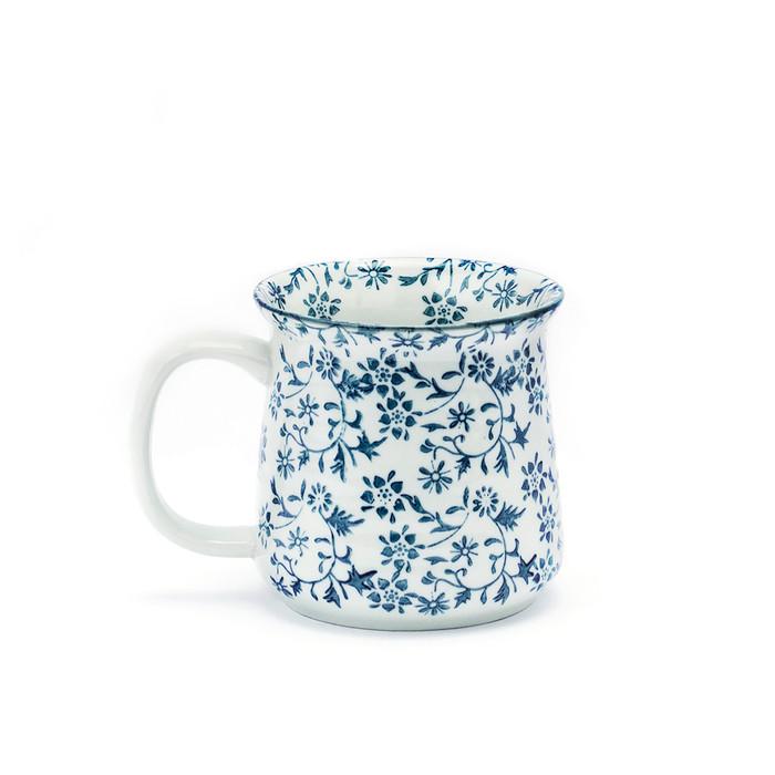 Blue Floral and Vine Mug
