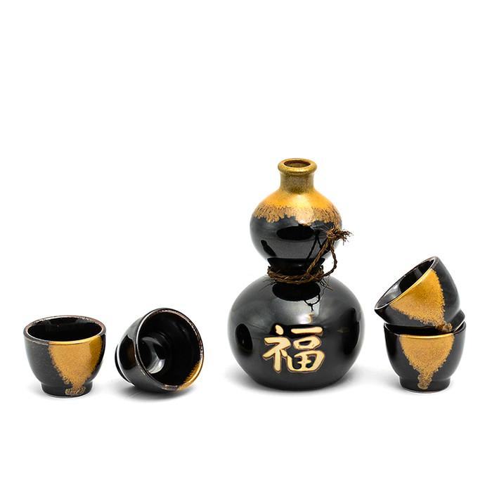 Black and Brown Fortune Sake Set