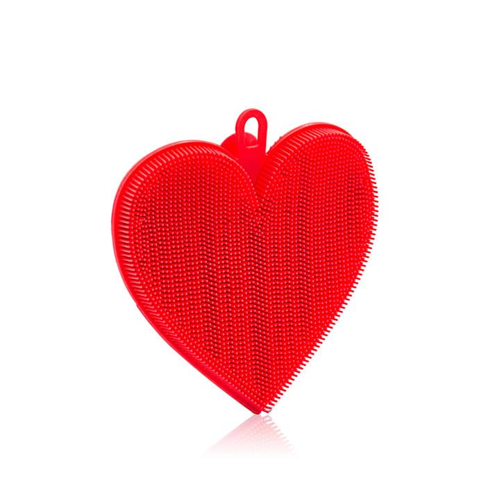 Silicone Dishwash Scrubber - Red Heart