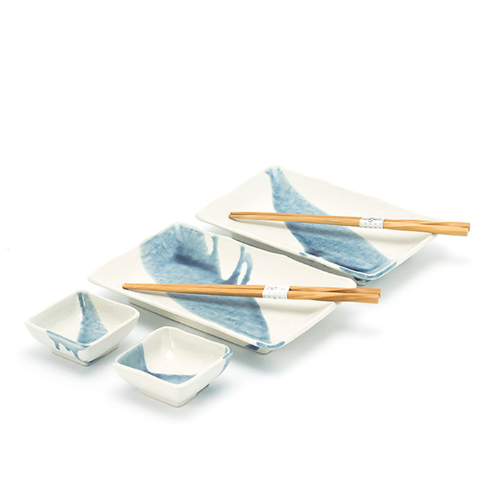 Dripped Grey-Blue Sushi Plate Set