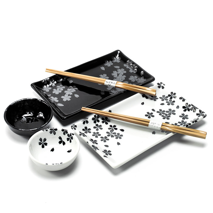 Cherry Blossom Sushi Plate Set assorted Black & White.