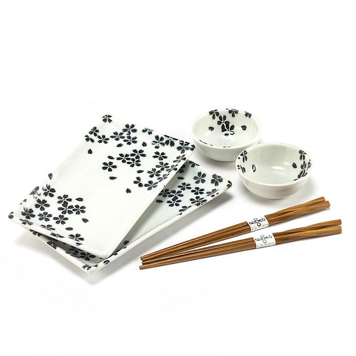 Cherry Blossom Sushi Plate Set - White