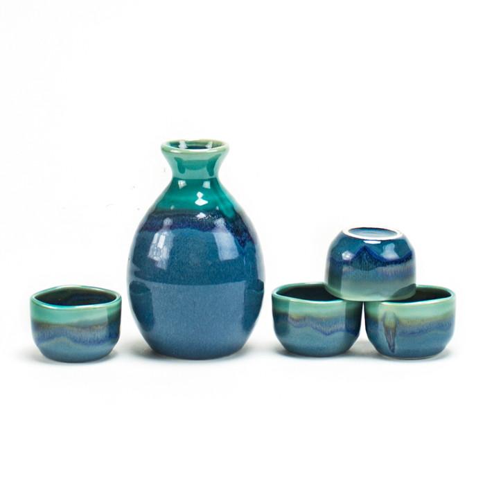 Sea Green Iridescent Sake Set