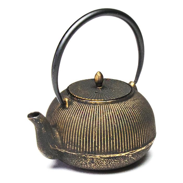 Cast Iron Teapot Stripes - Gold/Black
