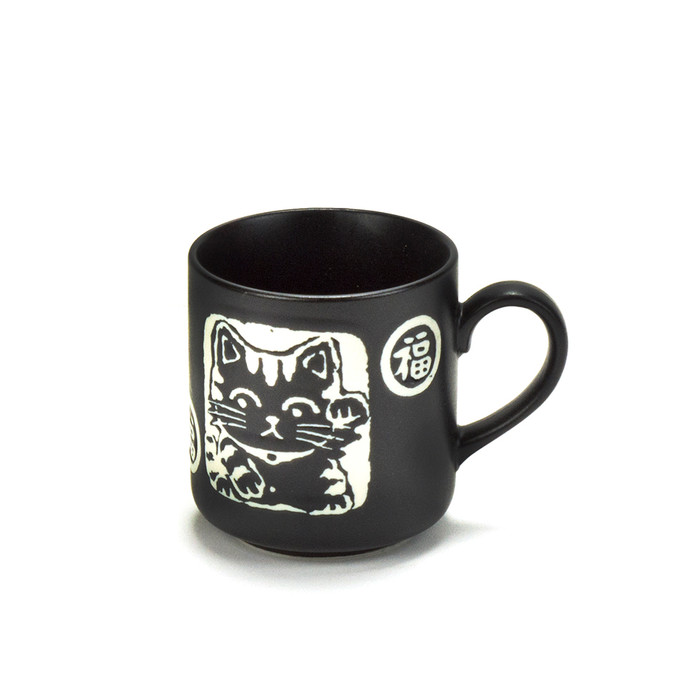 Lucky Cat Black Matte Mug