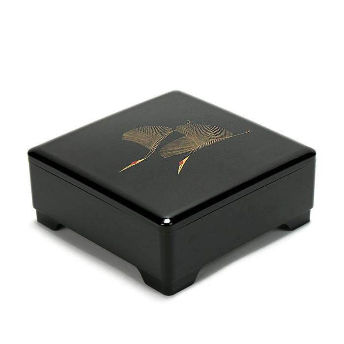 Japanese Lacquer Bento Box Tier – Twin Cranes Black