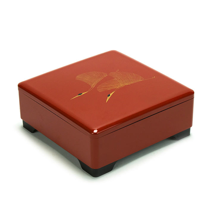 Japanese Lacquer Bento Box Tier – Twin Cranes Red