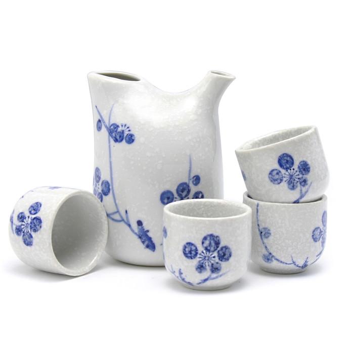 Blue Ume Snow Sake Set