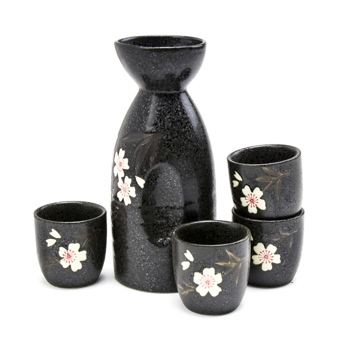 Black Alloy Sakura Sake Set