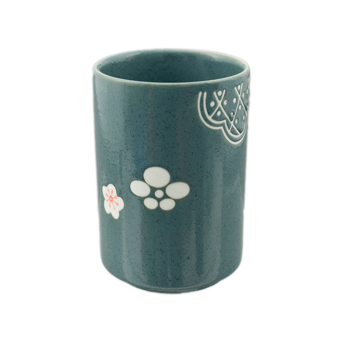 "Dark Green Sakura Tea Cup 4.25""H"