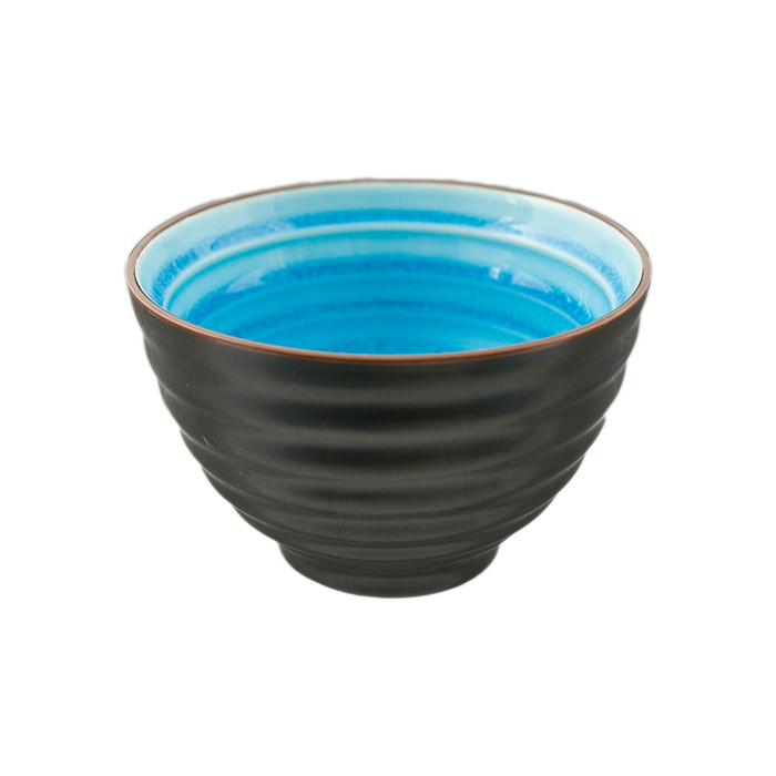 "Two Tone Reactive Glaze Blue Bowl 4.75""D, Set of 2"