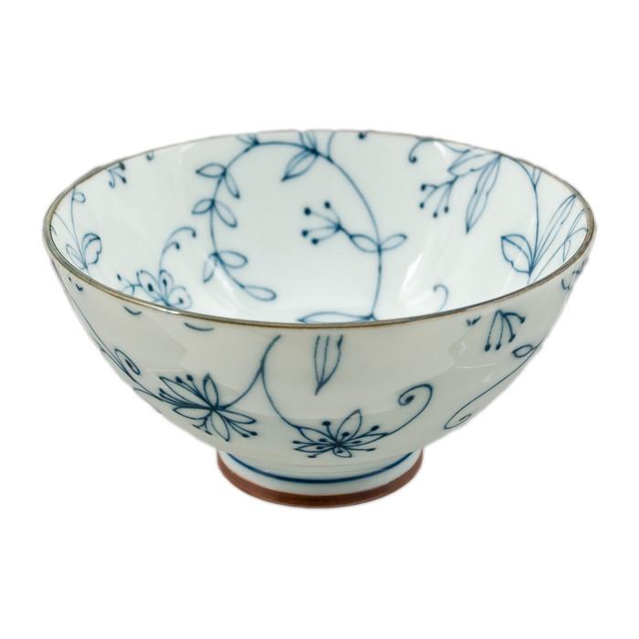 """Blue Lined Flower Bowl 4.5""""D, Set of 2"""