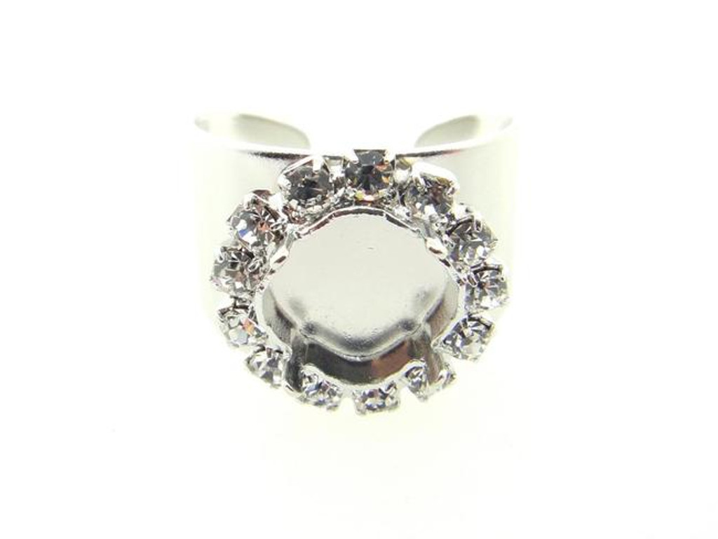 Adjustable Ring Shank Base with 10mm Square Cushion Cut Empty Setting & Crystal Rhinestones Rhodium