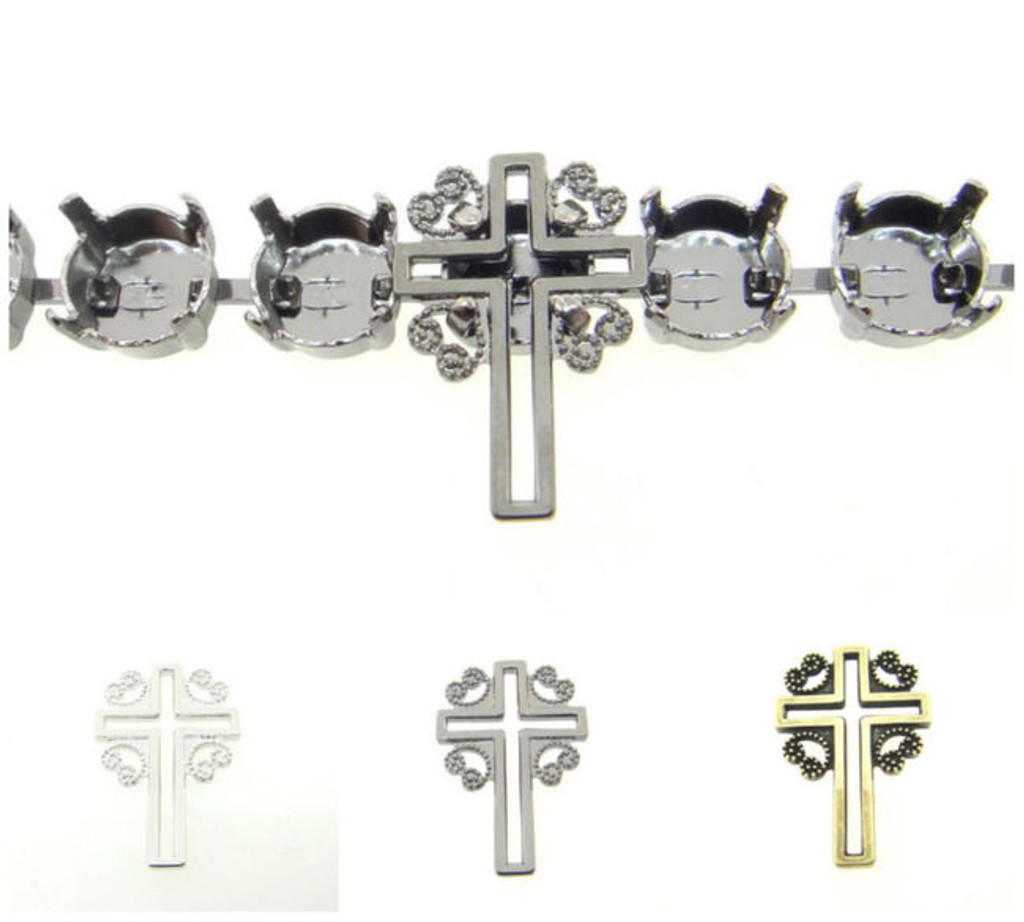 8.5mm | Filigree Cross Element | Six Pieces