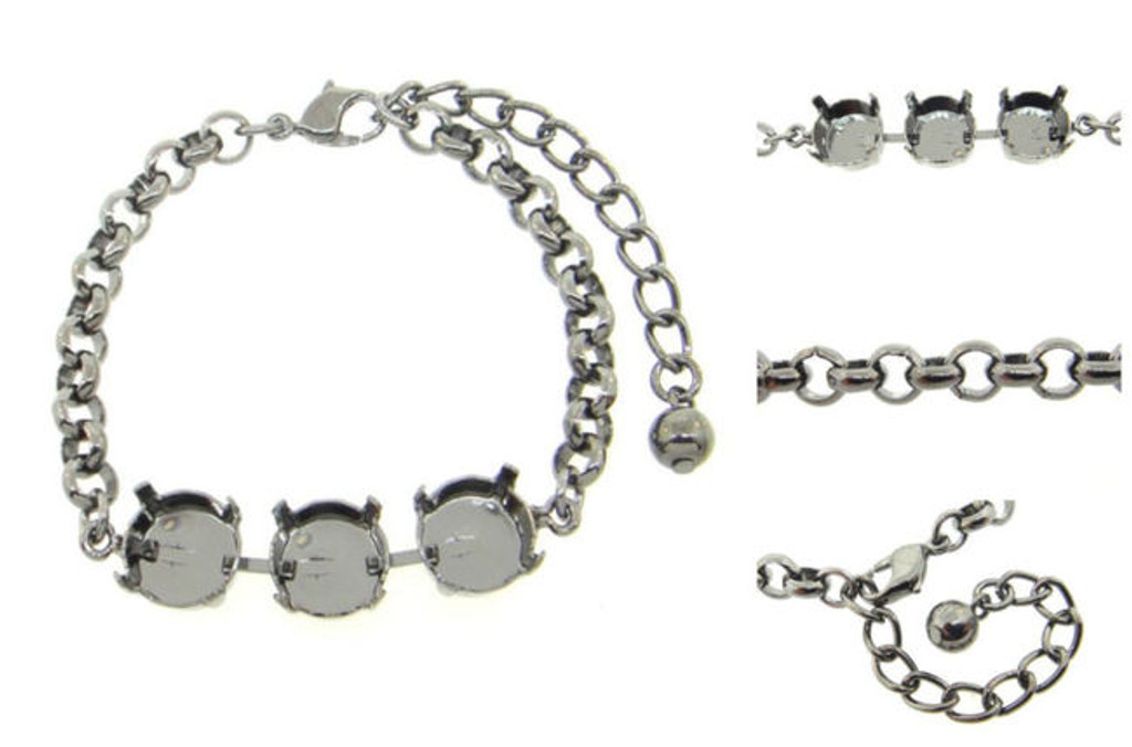Empty 3 Box Bracelets with Smooth Rolo Chain 11mm 48ss